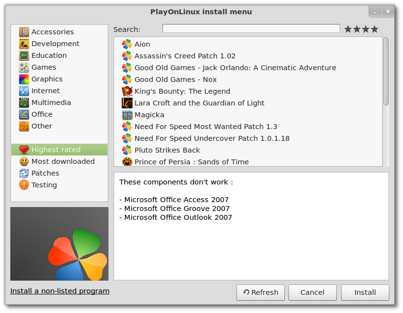 PlayOnLinux 4.0.16 now can start exe from terminal, support for Desura and more