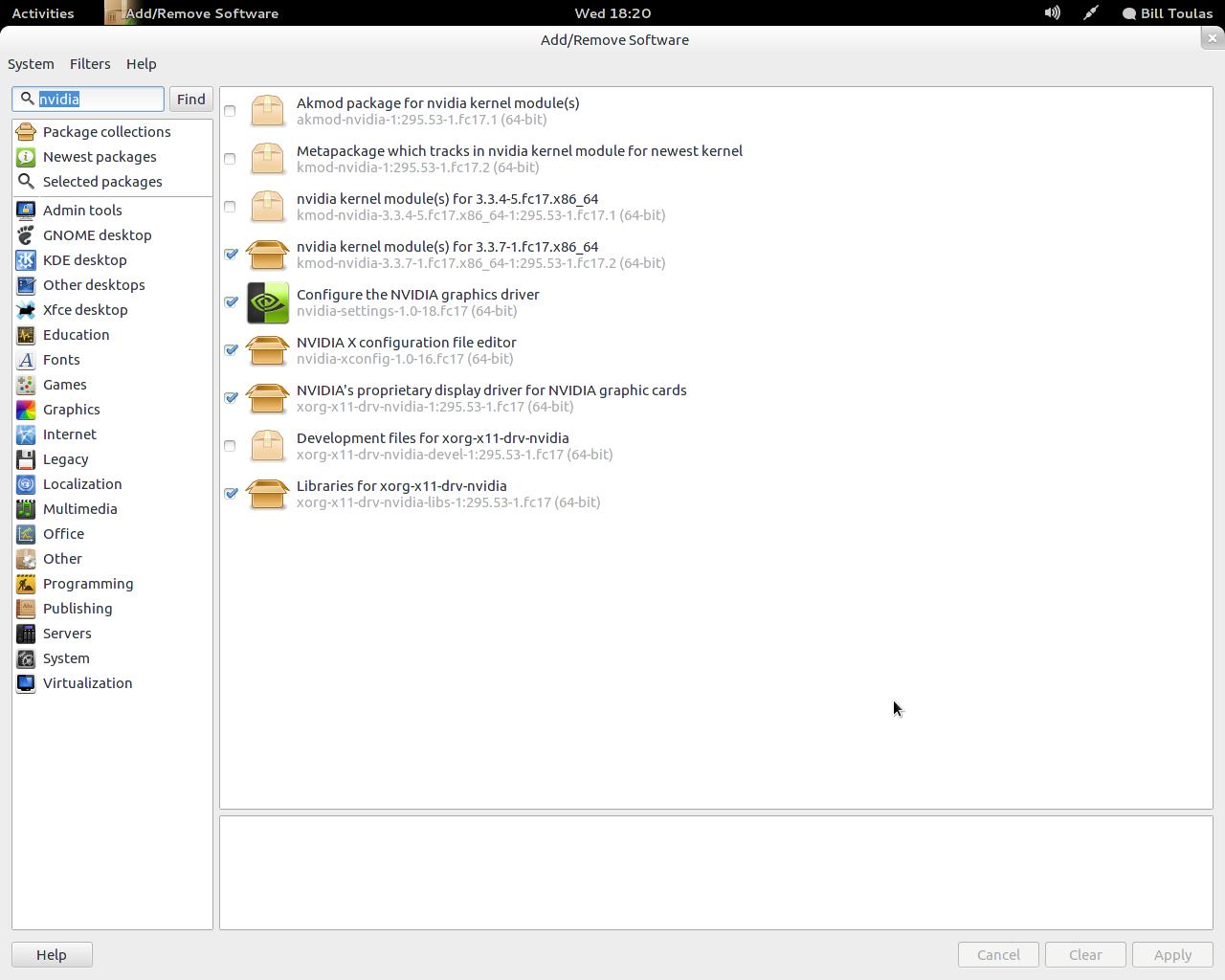 Установка драйвера видеокарты в Fedora