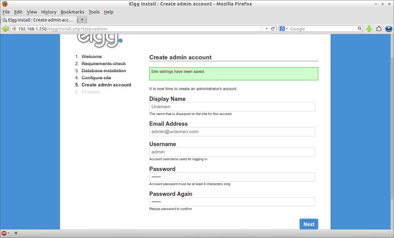 Elgg Install : Create admin account - Mozilla Firefox_006