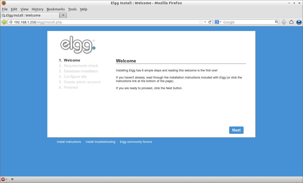 Elgg Install : Welcome - Mozilla Firefox_001