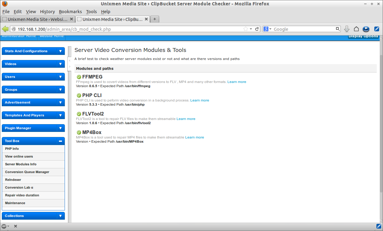 Unixmen Media Site › ClipBucket Server Module Checker - Mozilla Firefox_027