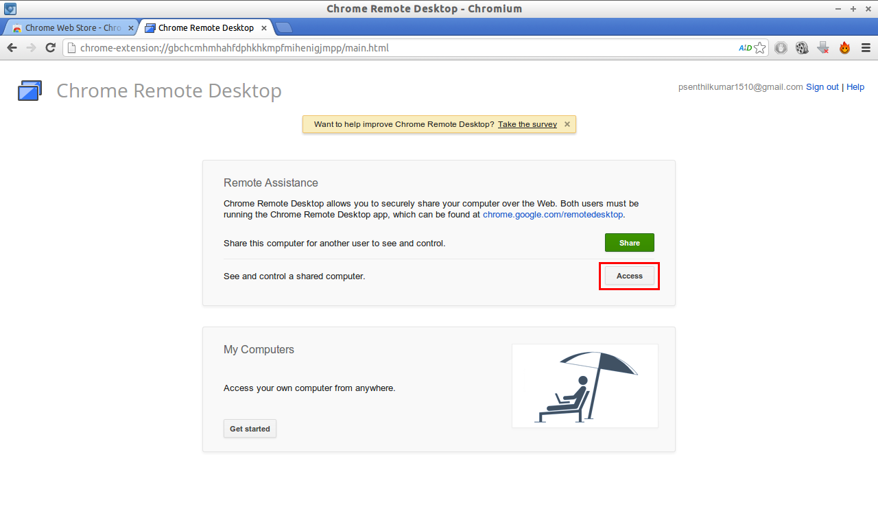 Chrome Remote Desktop - Chromium access_005
