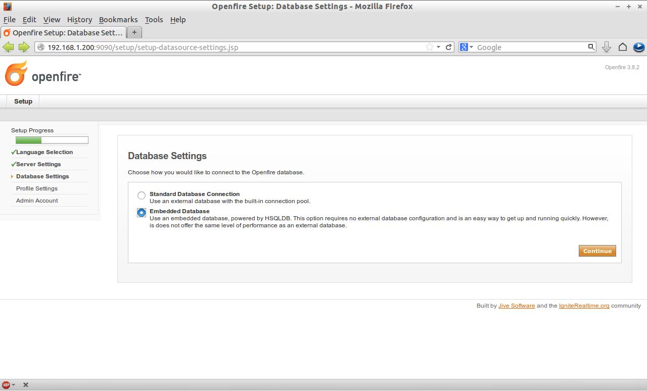 Openfire Setup: Database Settings - Mozilla Firefox_011