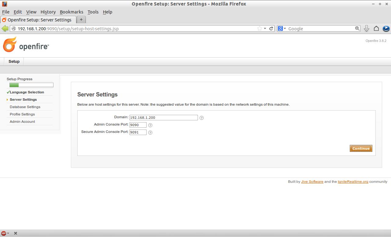 Openfire Setup: Server Settings - Mozilla Firefox_002
