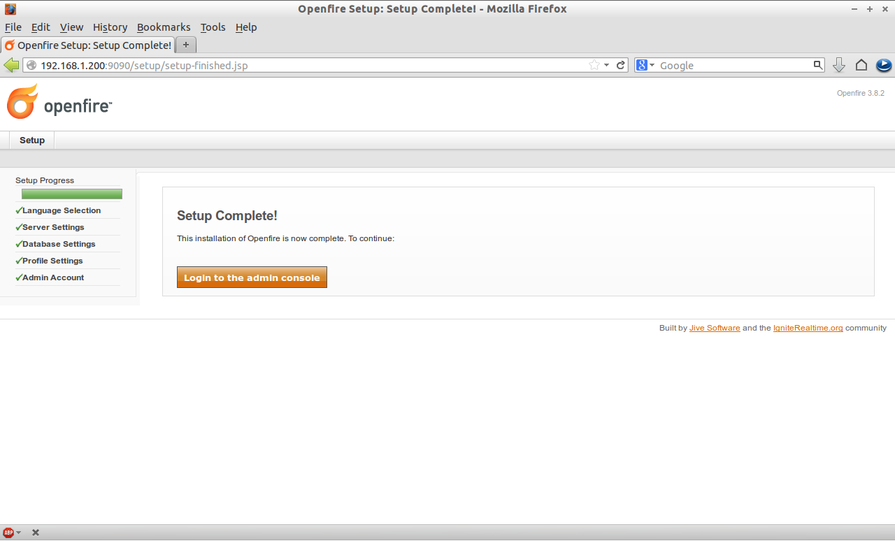 Openfire Setup: Setup Complete! - Mozilla Firefox_015