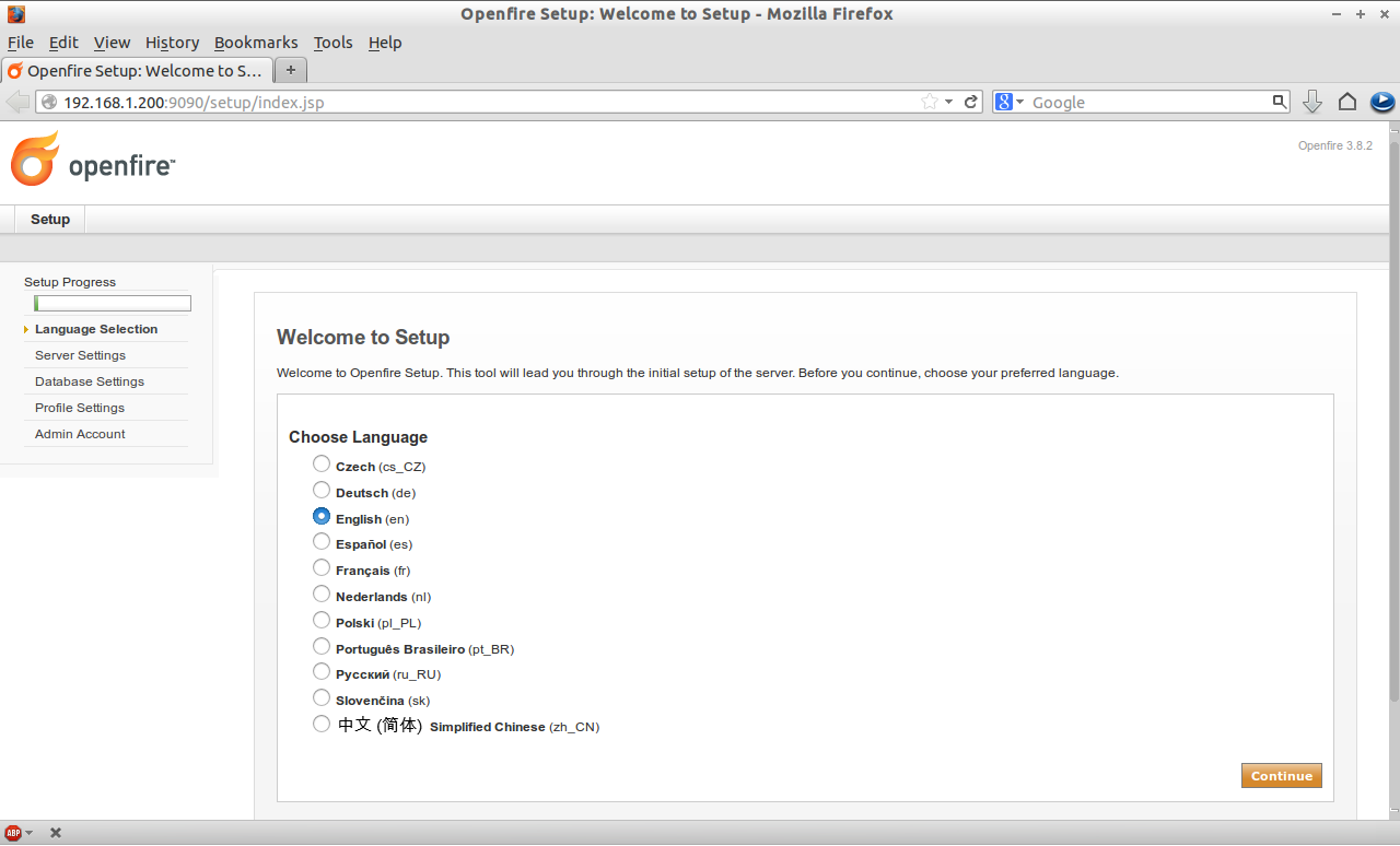 Openfire Setup: Welcome to Setup - Mozilla Firefox_001