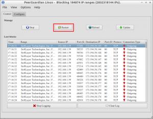 PeerGuardian Linux - Blocking 184874 IP ranges (2832318144 IPs)._004