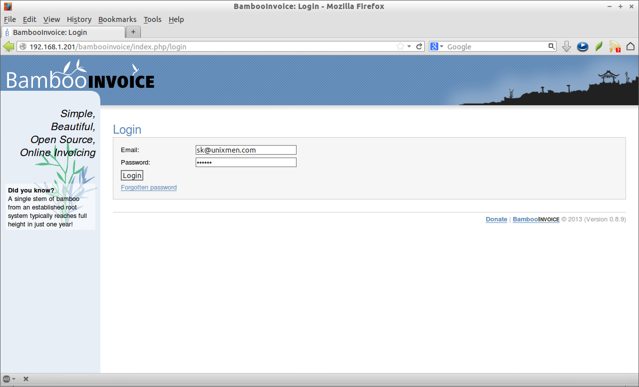 bambooinvoice: a simple, opensource online invoicing software, Simple invoice