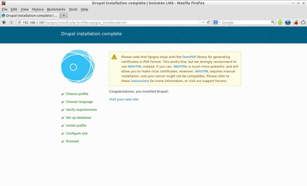 Drupal installation complete | Unixmen LMS - Mozilla Firefox_008