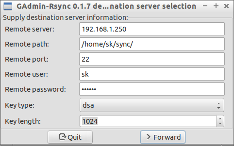 GAdmin-Rsync 0.1.7 destination server selection_014