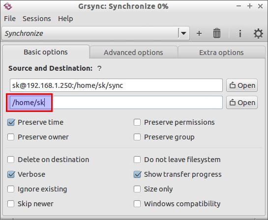 Grsync: Synchronize 0-_014