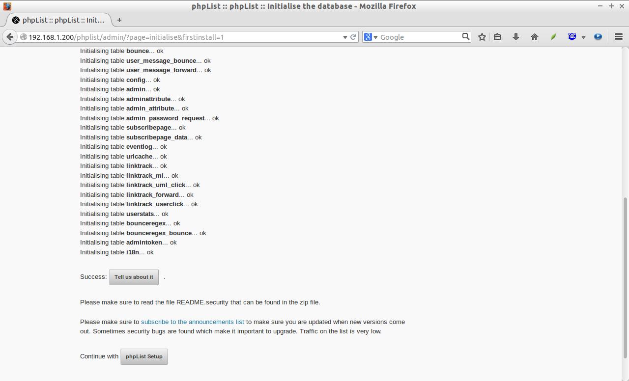 phpList :: phpList :: Initialise the database - Mozilla Firefox_003