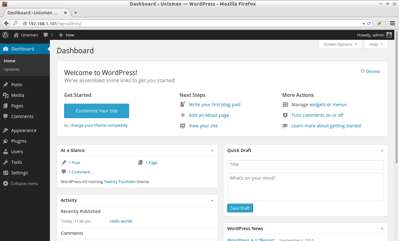 Dashboard ‹ Unixmen — WordPress - Mozilla Firefox_004