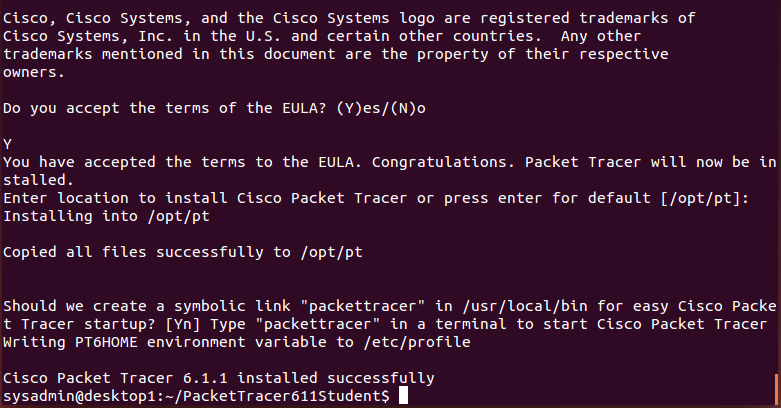 Packet tracer installed