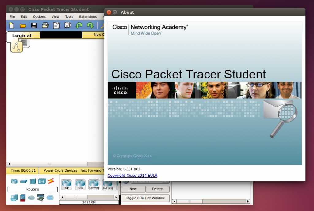 packet tracer first launch main window