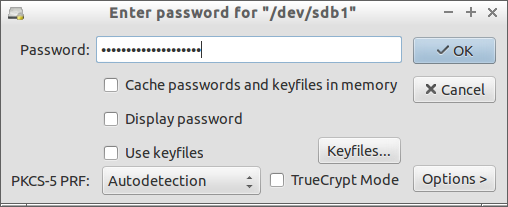 "Enter password for ""-dev-sdb1""_021"
