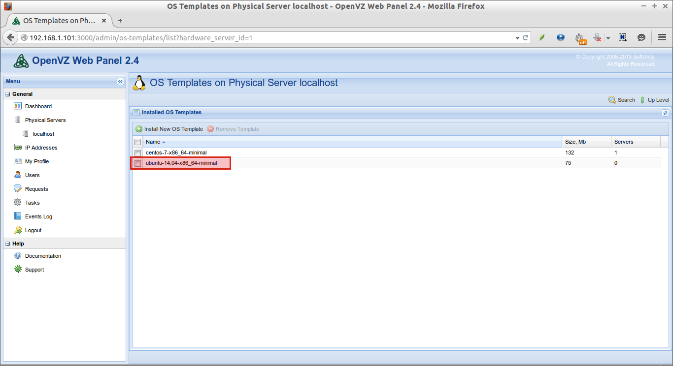 OS Templates on Physical Server localhost - OpenVZ Web Panel 2.4 - Mozilla Firefox_008