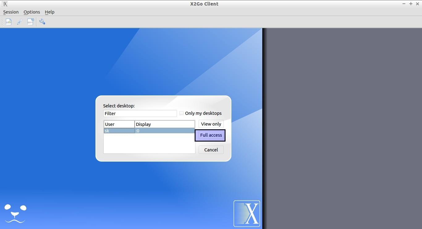 x2go вход через интернет