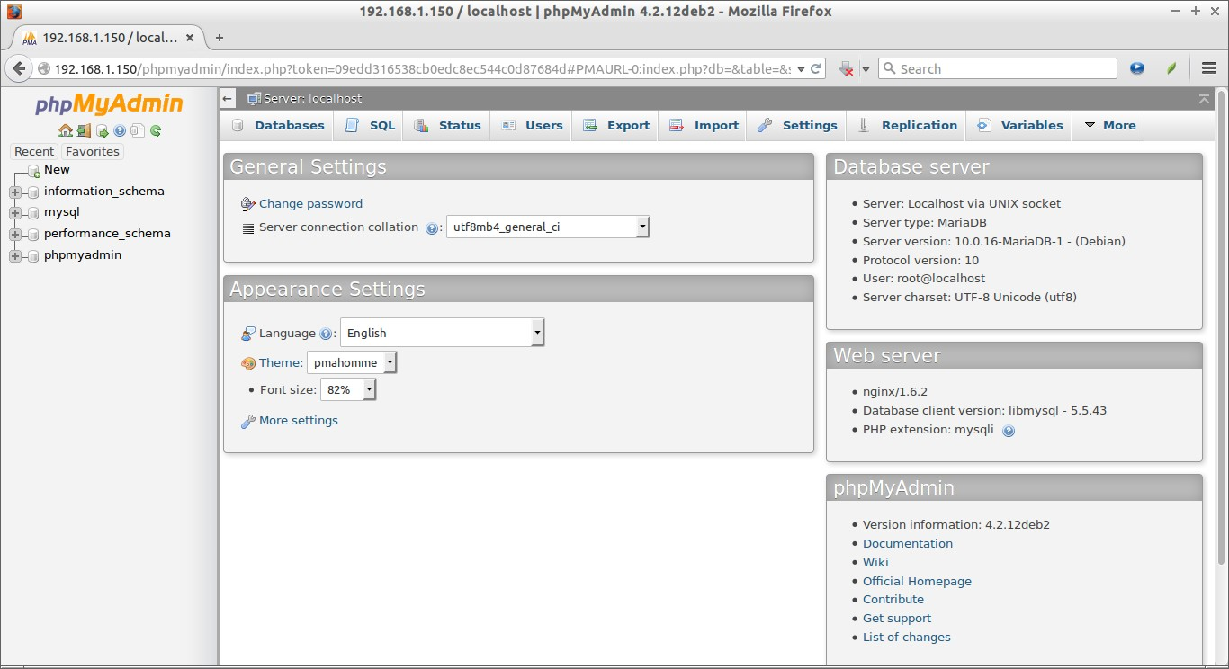 192.168.1.150 - localhost   phpMyAdmin 4.2.12deb2 - Mozilla Firefox_010