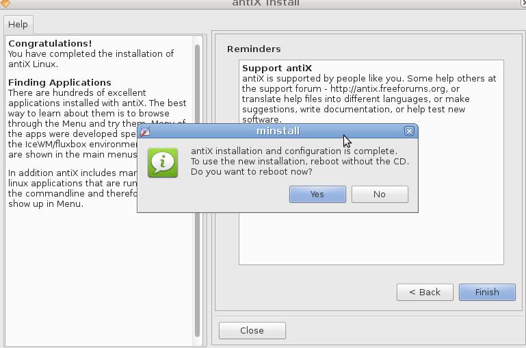 Antix Reboot after install