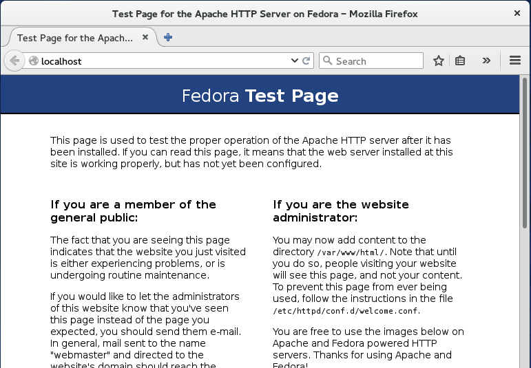 Apache web server in browser