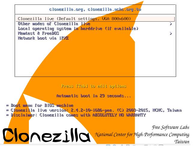 Clonezilla main page