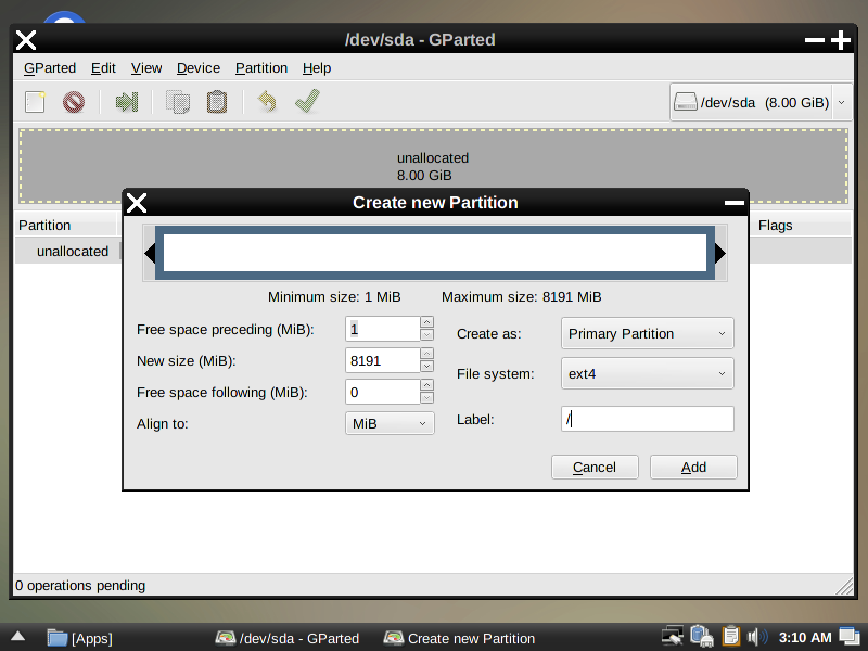 Create Partitions of your choice