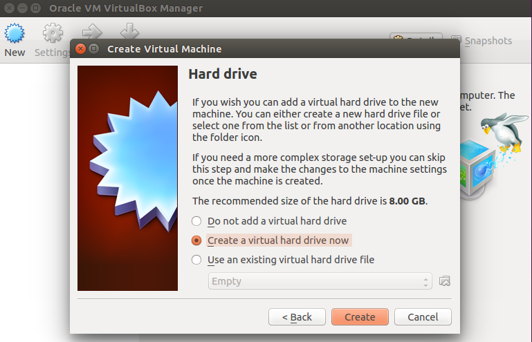 Hard disk space for the VM