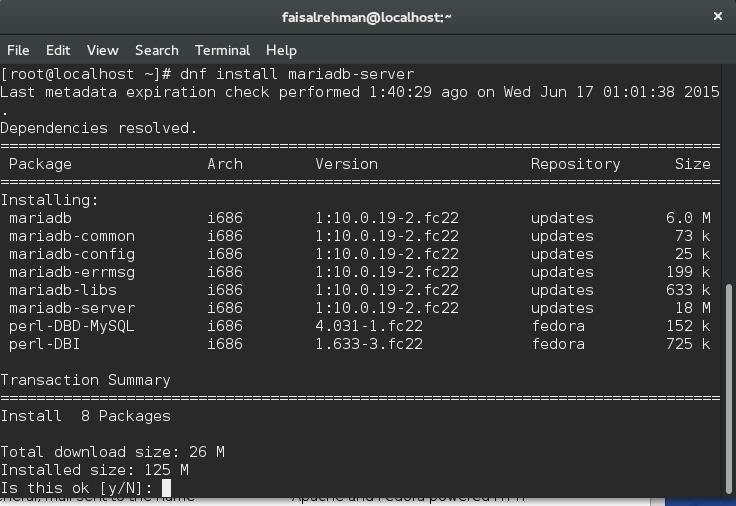 Installing MariaDB on Fedora 22