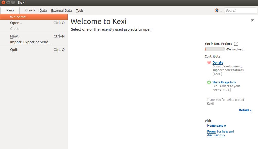Main Page Kexi
