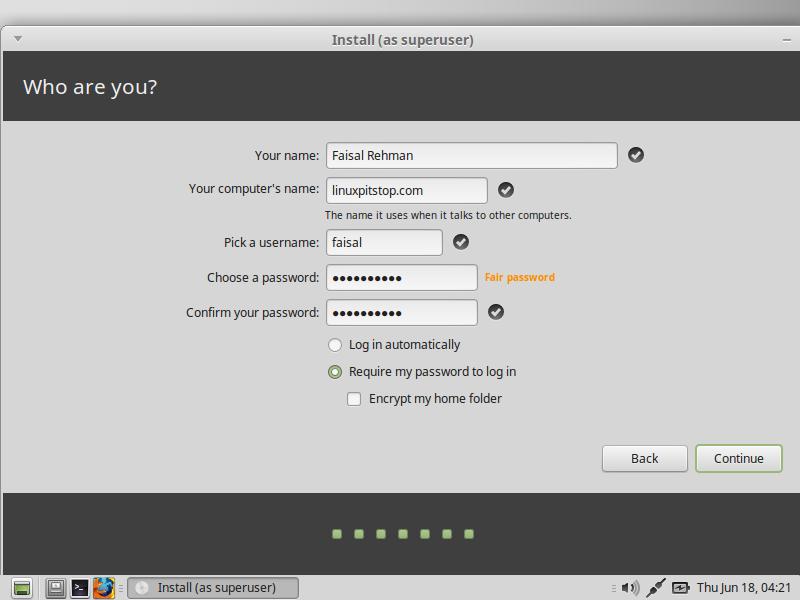 Provide the login credentials