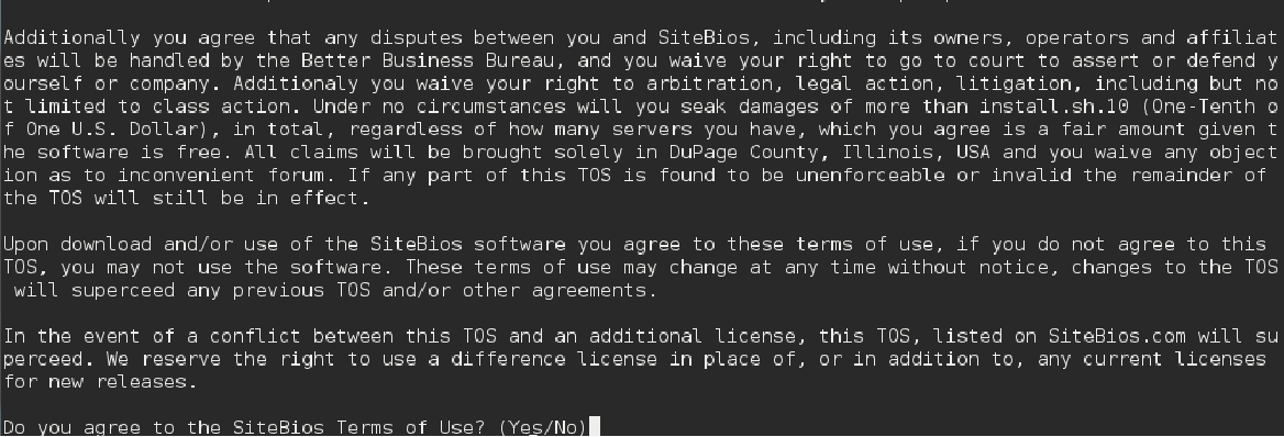 SiteBios Agreement