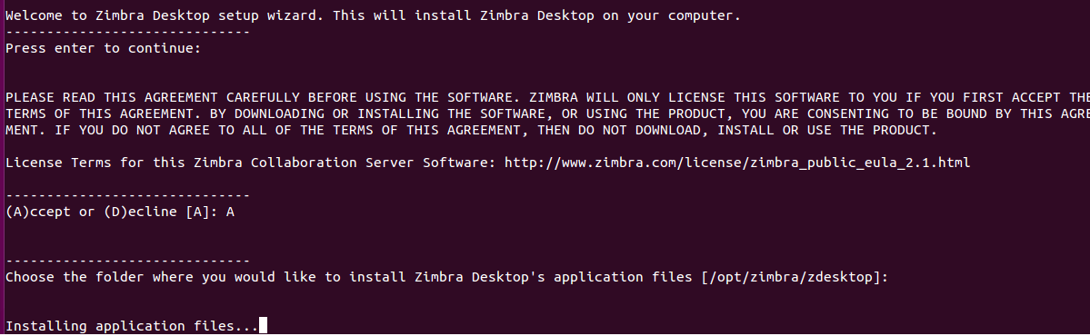 Zimbra install in progress