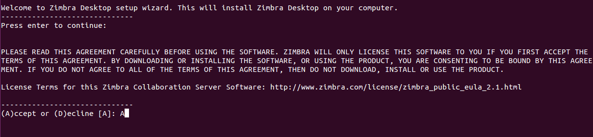 accept agreement zimbra desktop