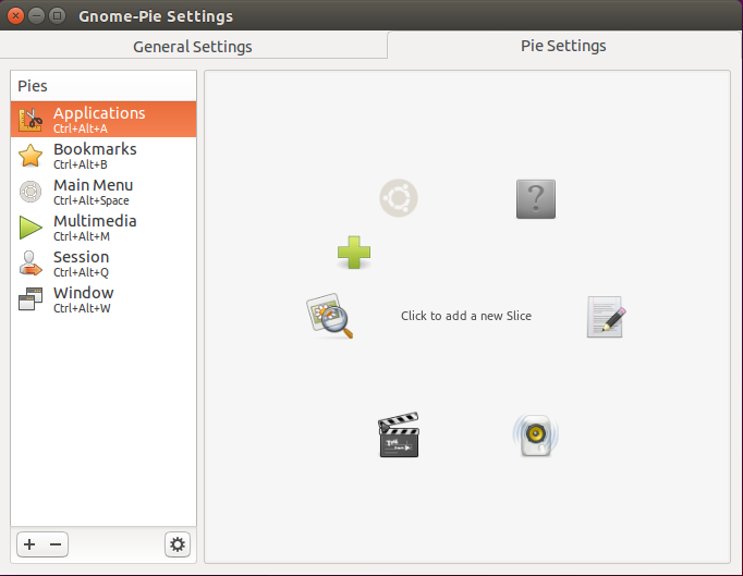 gnome pie settings