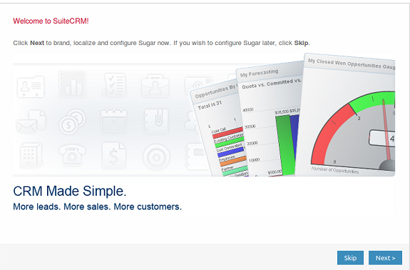 SuiteCRM Main Page