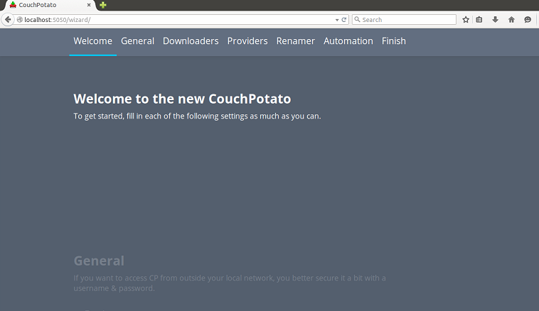 Couchpotato main page