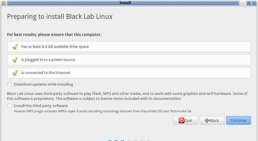 black lab Installation requirement