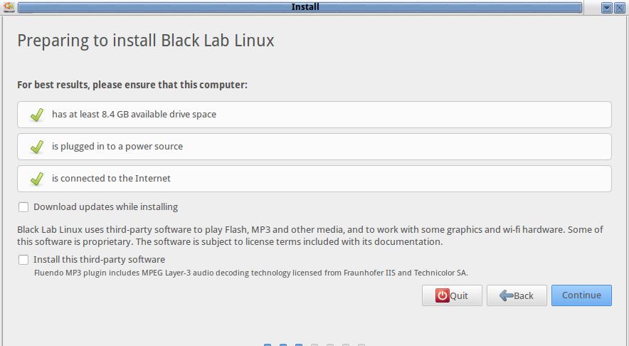 black lab Installation requirement