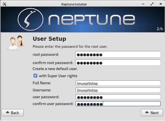 neptune user acct