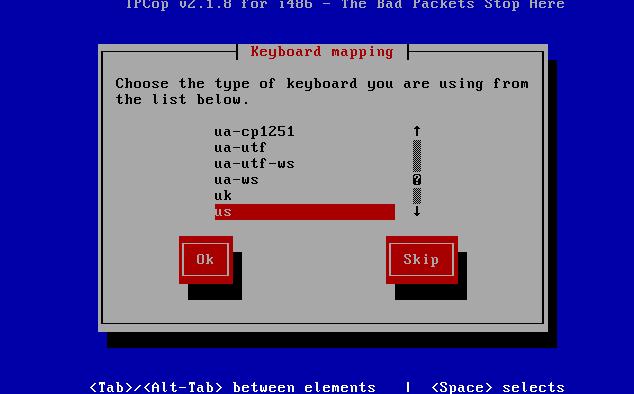 IPCop keyboard layout