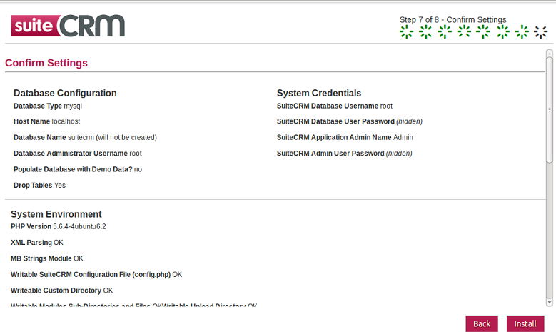 SuiteCRM Install Summary