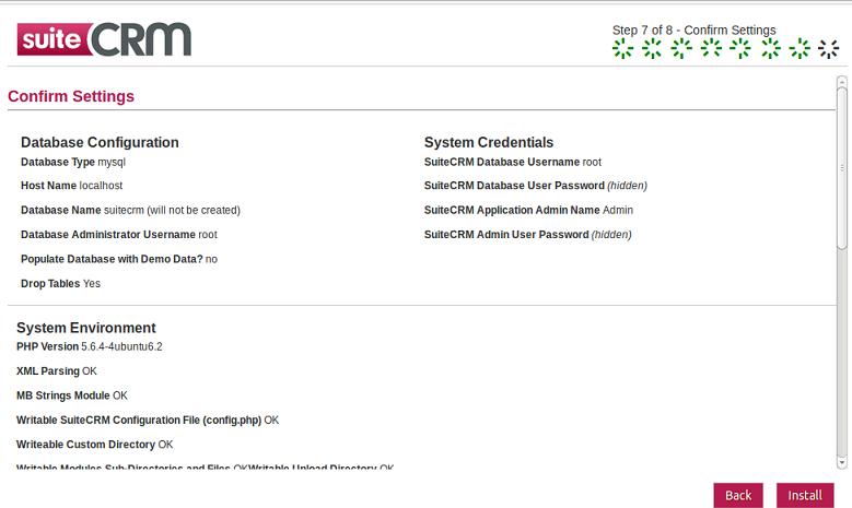SuiteCRM Install Summary
