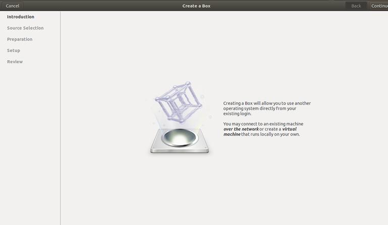 GNOME boxes main
