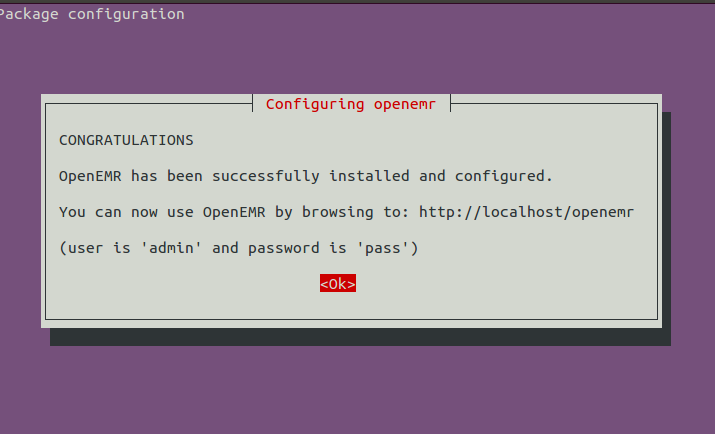 OpenEMR installation complete