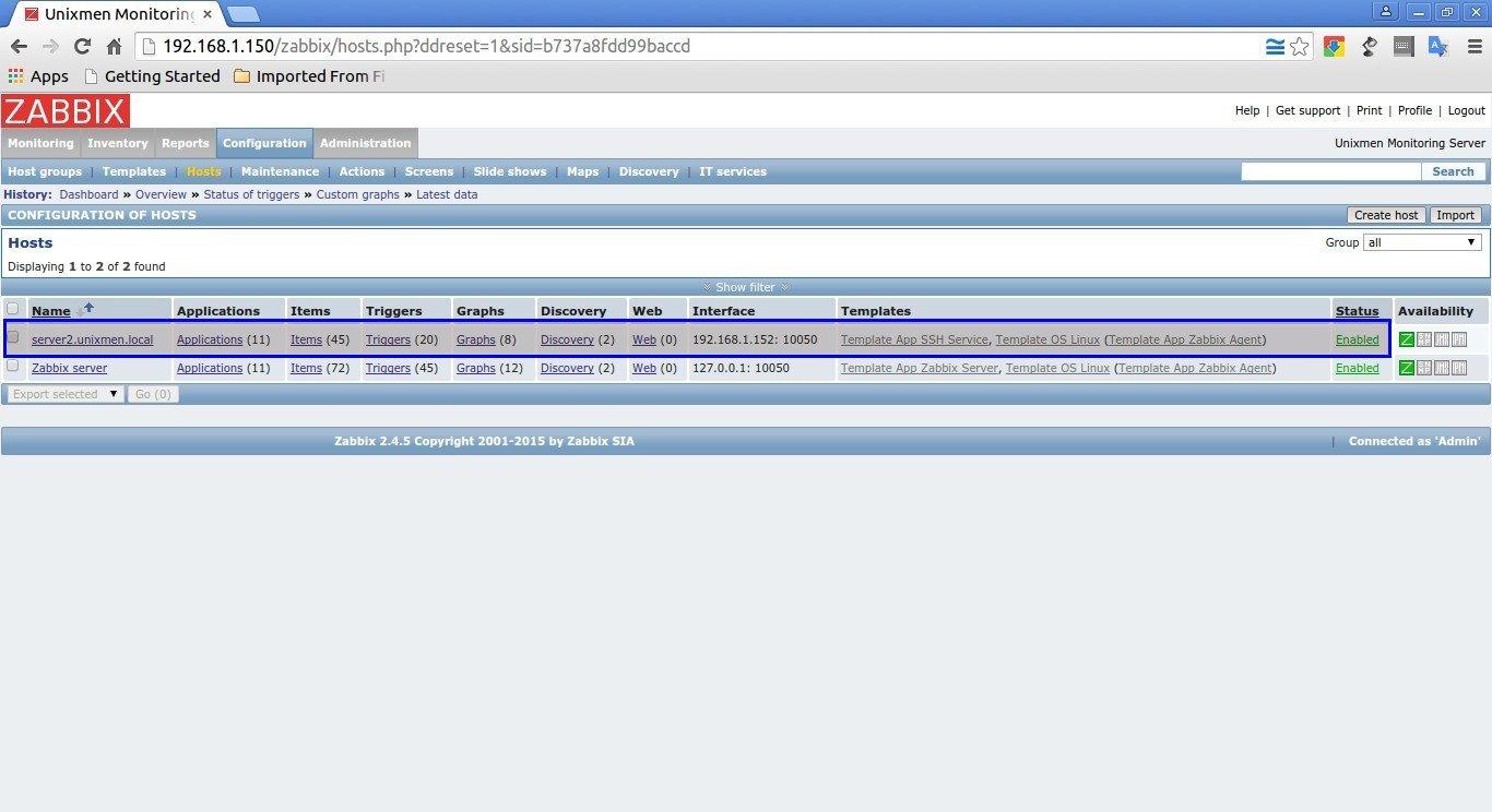 Unixmen Monitoring Server: Configuration of hosts - Google Chrome_001