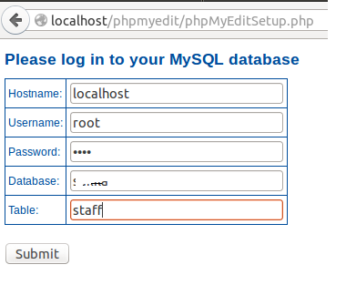 phpMyEdit Edit Table