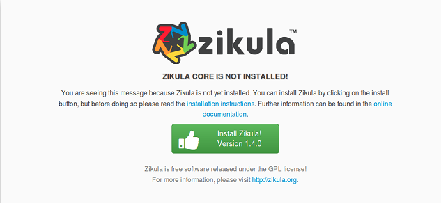 Install Zikula
