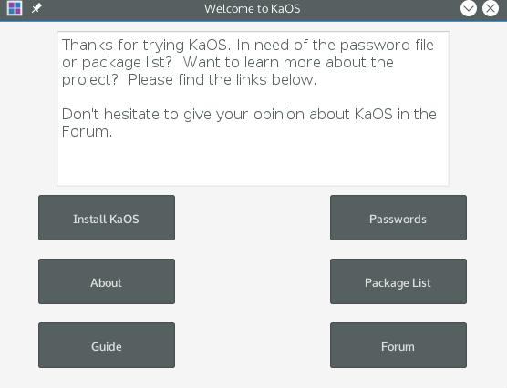 Installing KaOS