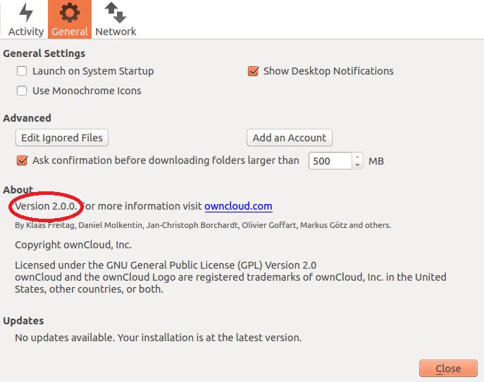 owncloud desktop version